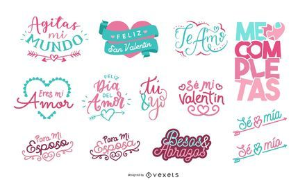 Conjunto de letras de San Valentín en español