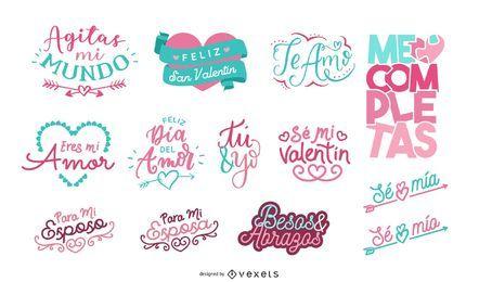 Dia dos Namorados Lettering Set Espanhol