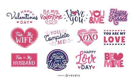 Conjunto de letras de San Valentín