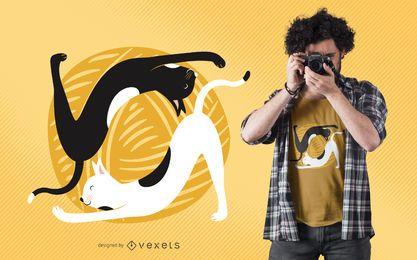 Design de t-shirt de ioga de gato