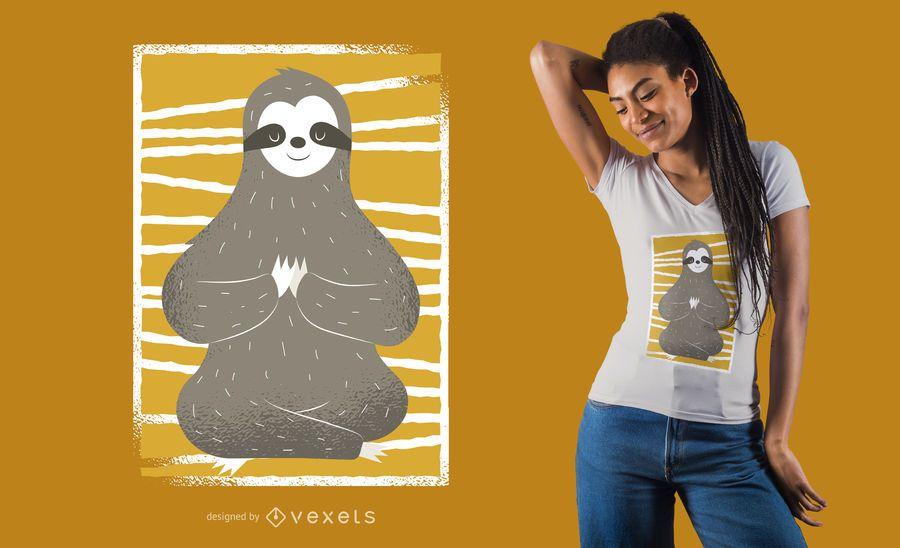 Projeto do t-shirt da pose da ioga da preguiça