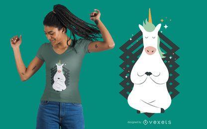 Diseño de la camiseta de la actitud de la yoga del unicornio