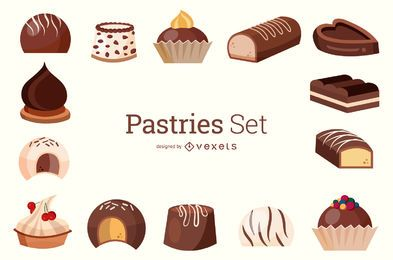 Pasteles Set Ilustración