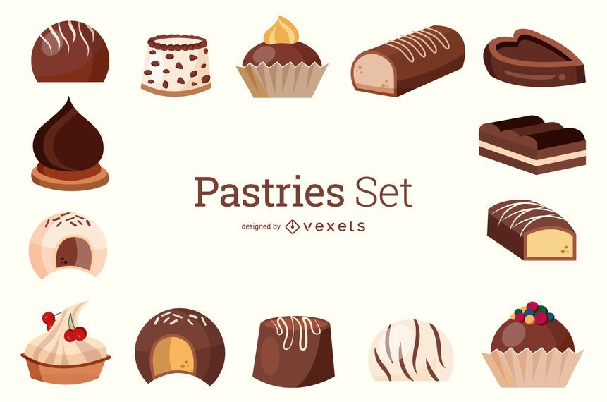 Conjunto de pastelaria ilustração