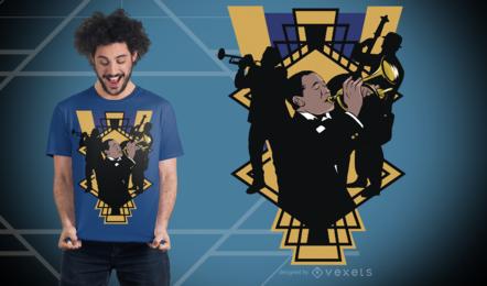 Diseño de camiseta de banda de jazz