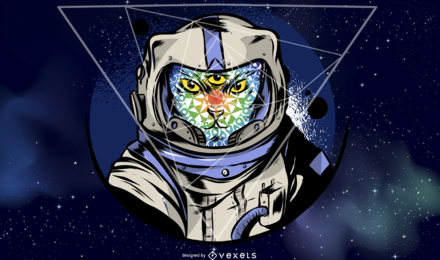 Ilustração de gato de astronauta