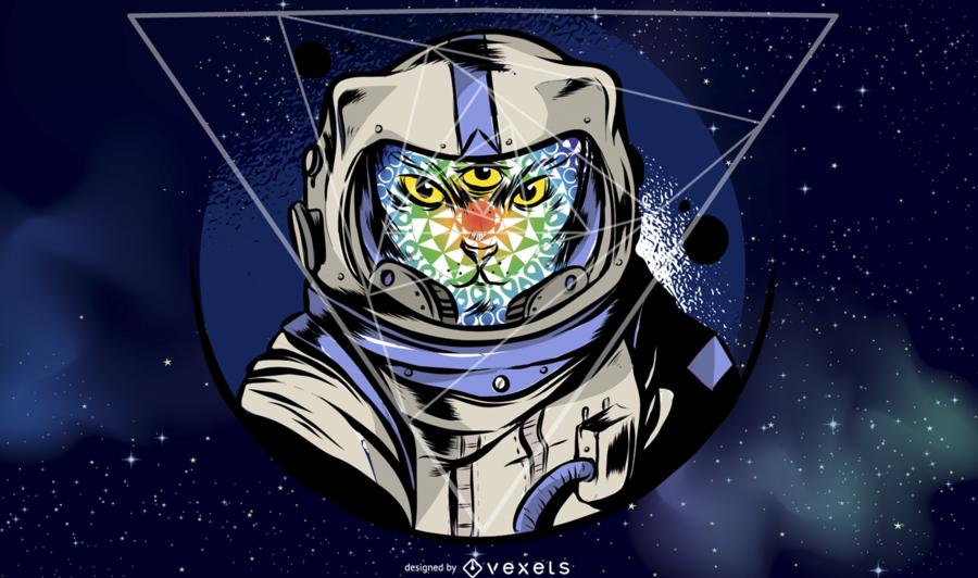 Ilustración del gato astronauta