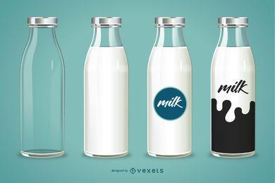 Botella 3D Ilustración De Leche
