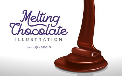 Ilustração 3D de Chocolate derretendo