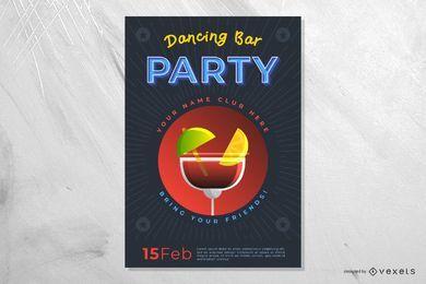 Cartel de fiesta de bar bailando