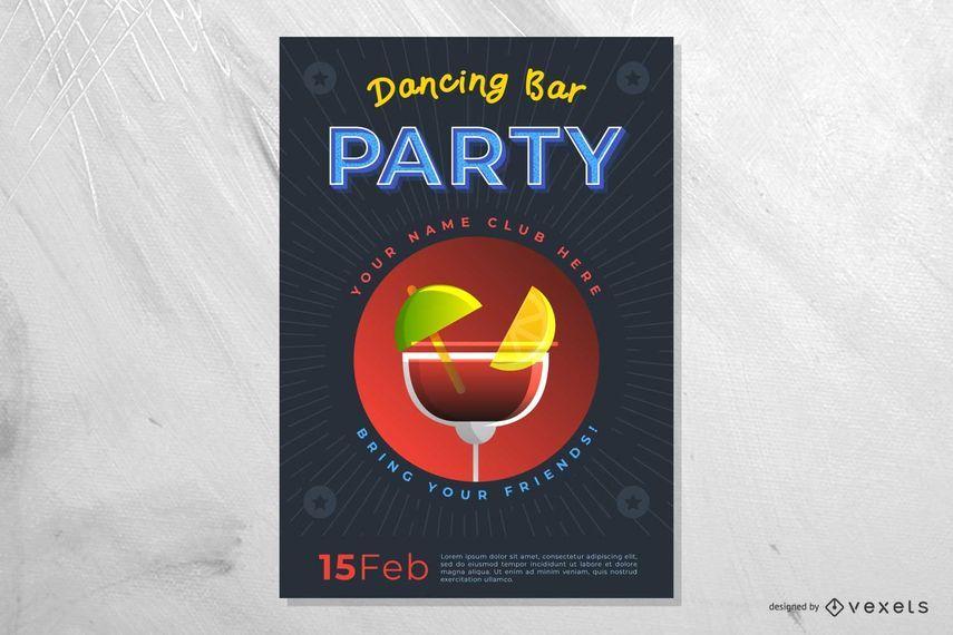 Cartel del partido de la barra del baile