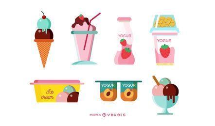 Conjunto de ilustração de produtos de leite