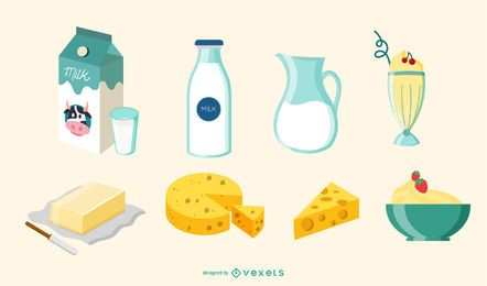 Milk Elements Illustration Set