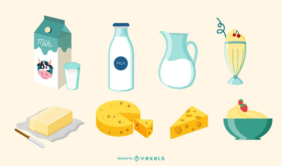 Conjunto de ilustra��o de elementos de leite