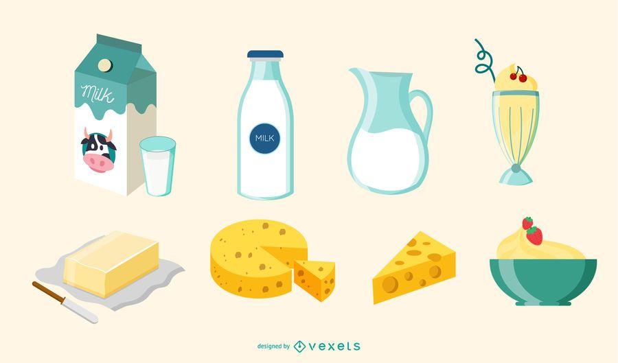 Conjunto de ilustraci�n de elementos de leche