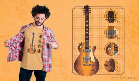 Projeto do t-shirt dos detalhes da guitarra de Gibson