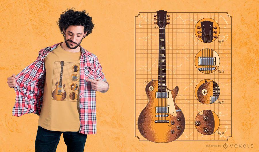 Guitarra Gibson detalles dise�o de camiseta