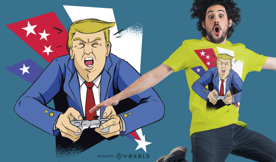 Diseño de camiseta Gamer Trump