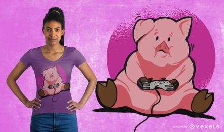 Design do t-shirt do porco do Gamer