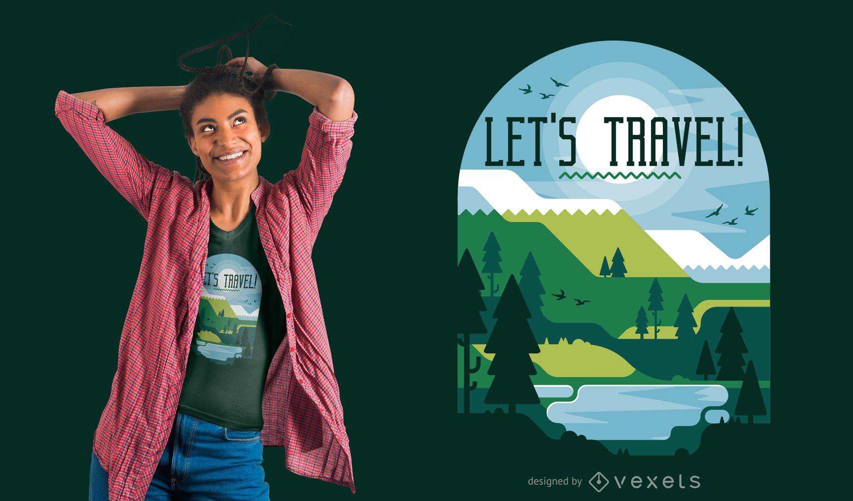 Diseño de camiseta de viaje al aire libre