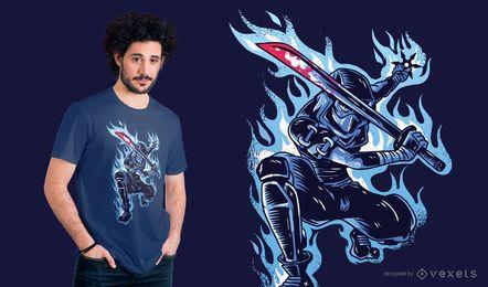 Projeto azul do t-shirt de Ninja