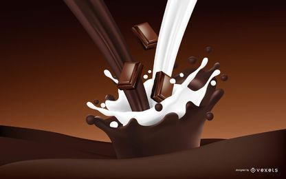 Bebida realista de chocolate y leche