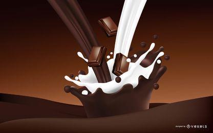 Realistische Schokoladen- und Milchgetränk