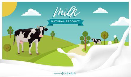 Ilustración de productos naturales de leche