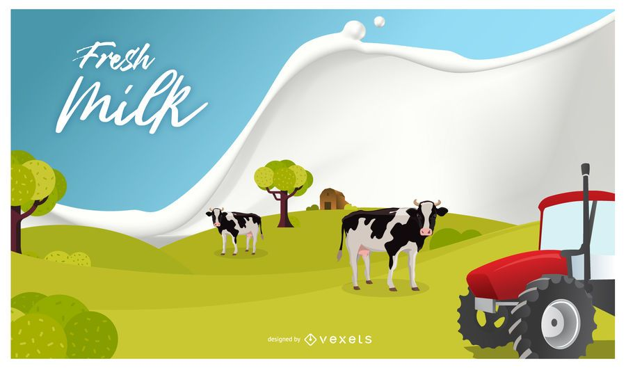 Design de cartaz de leite fresco