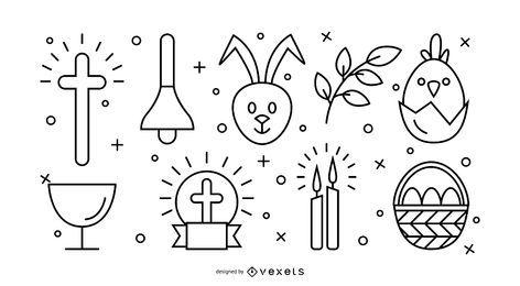 Conjunto de ícones de traçado de Páscoa