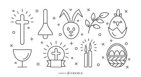 Conjunto de iconos de trazo de Pascua