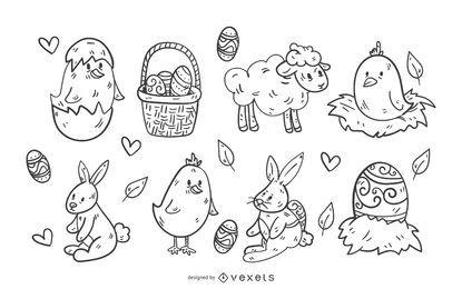Conjunto de iconos del domingo de Pascua