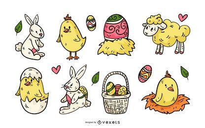 Conjunto de ilustración de domingo de Pascua