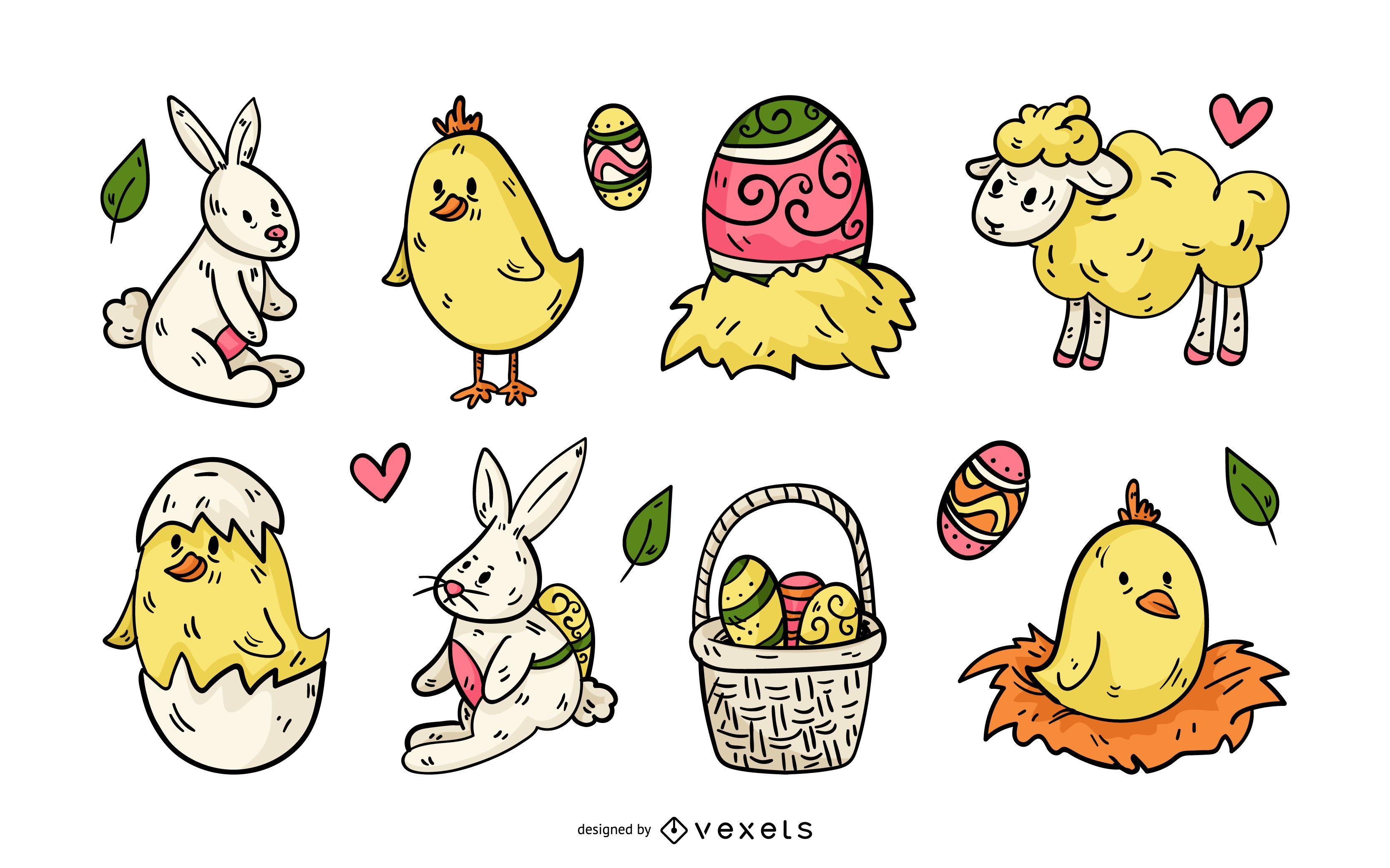 Easter Sunday Illustration Set