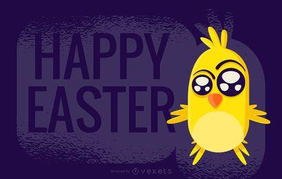 Diseño de saludo de pollito de Pascua