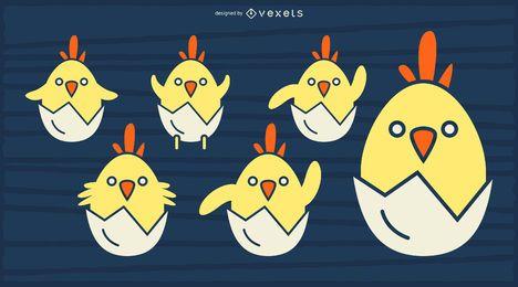 Pollitos amarillos para incubar diseño