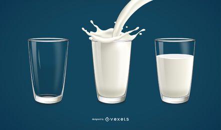 Vaso con ilustración de leche