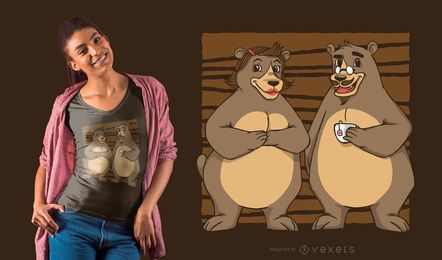 Diseño de camiseta oso pareja