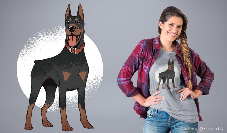 Diseño de la camiseta del perro del doberman