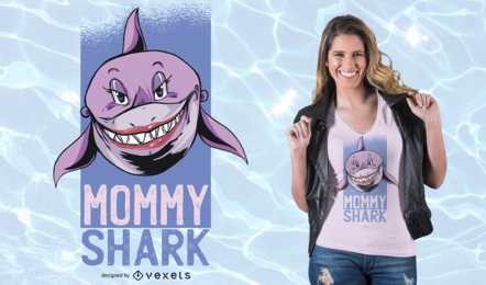 Diseño de camiseta de Mommy Shark