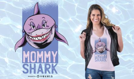 Projeto do t-shirt do tubarão da mamã
