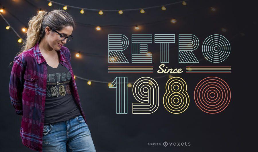 Design retro do t-shirt da década