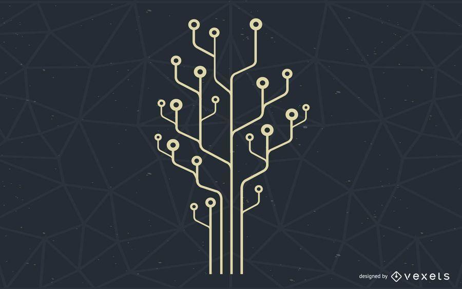 Ilustração de árvore de tecnologia de computador