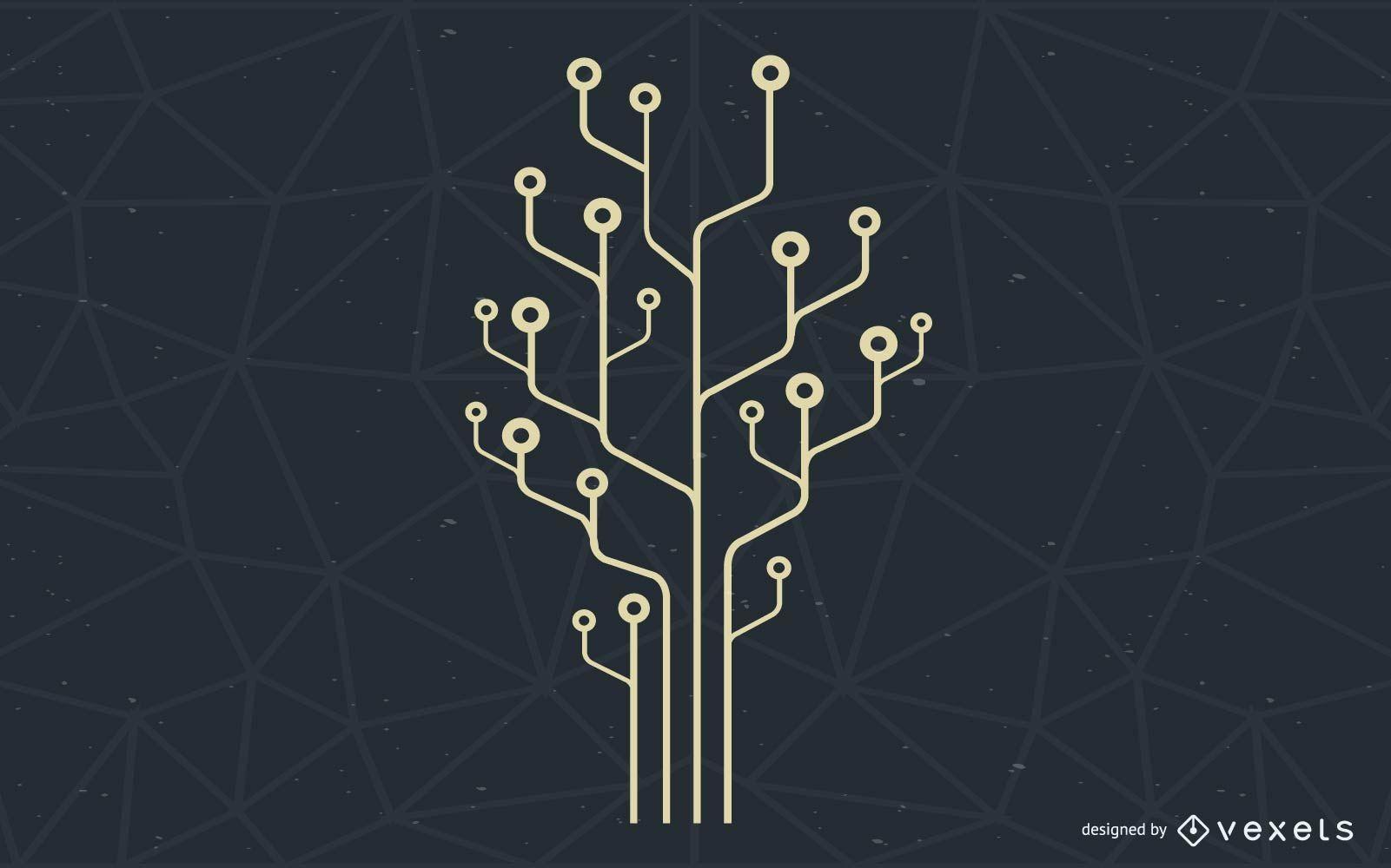 Computer Technology Tree Illustration