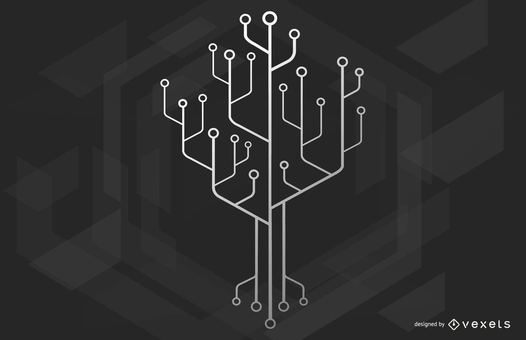 Ilustración del árbol de tecnología de chips