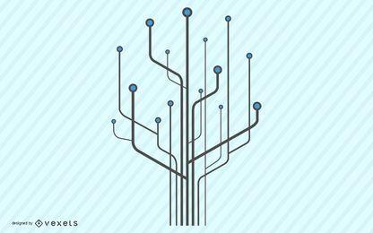 Ilustración de chip de computadora de árbol de tecnología
