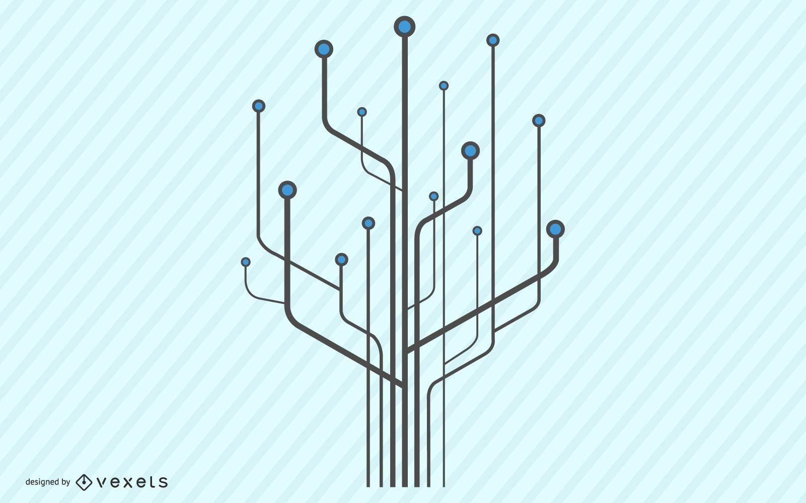 Technology Tree Computer Chip Illustration
