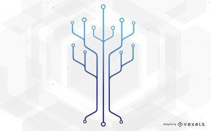 Ilustração de árvore de tecnologia de circuito de chip
