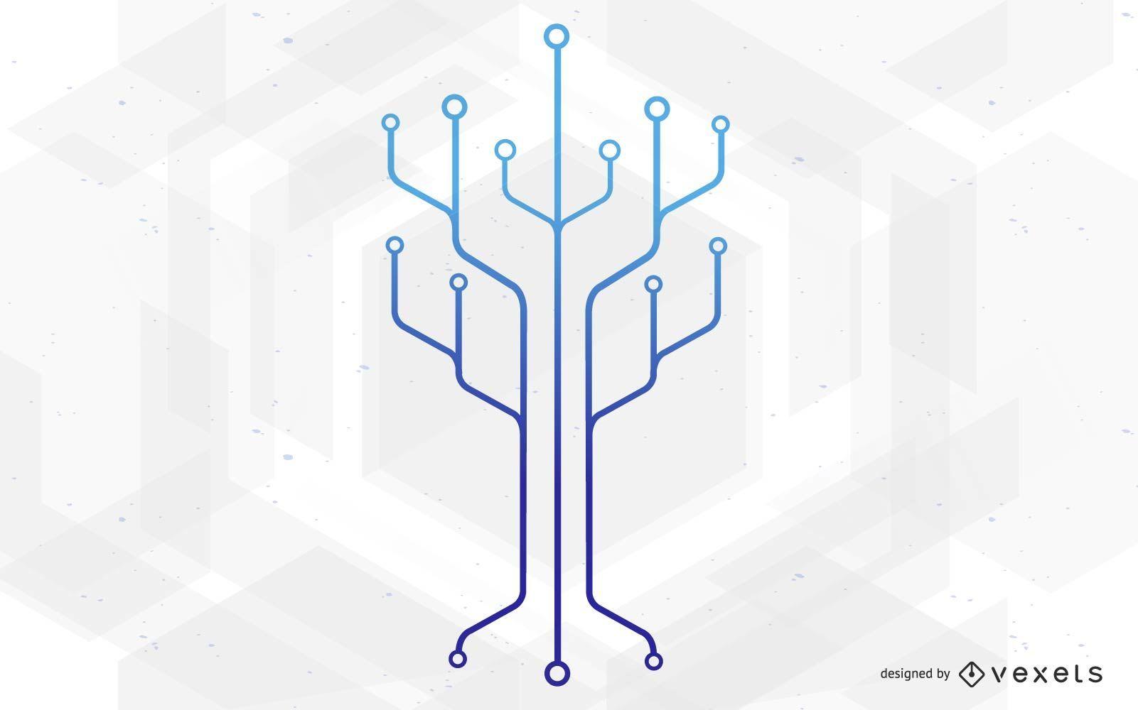 Ilustración de árbol de tecnología de circuito de chip
