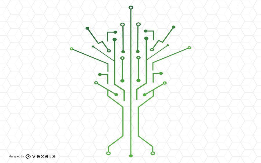 Desenho de vetor de árvore de tecnologia